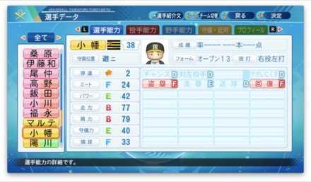 小幡竜平のステータス画像