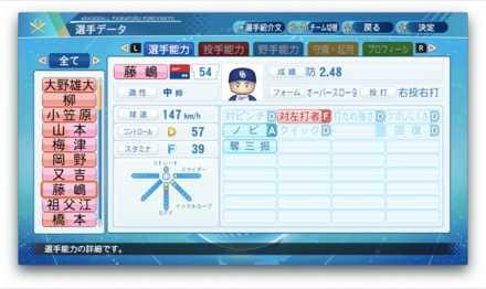 藤嶋健人のステータス画像