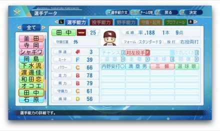 田中和基のステータス画像