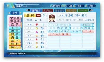 浅村栄斗のステータス画像