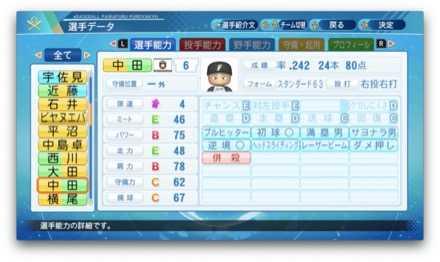 中田翔のステータス画像