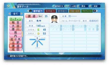 渡邉啓太のステータス画像