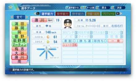 唐川侑己のステータス画像