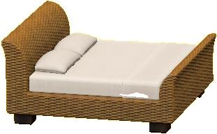 ラタンのベッド画像