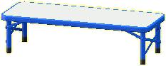 アウトドアベンチのブルーの画像
