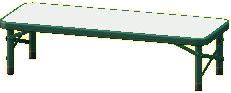 アウトドアベンチのグリーンの画像