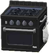オーブンつきコンロのブラックの画像