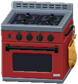 オーブンつきコンロのレッドの画像