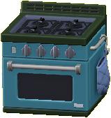 オーブンつきコンロのブルーの画像