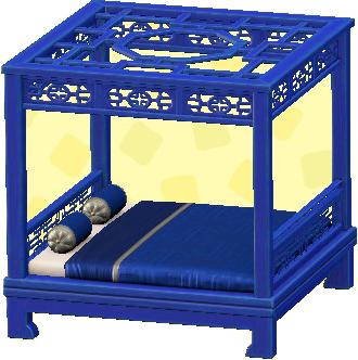 オリエンタルなベッドのブルーの画像
