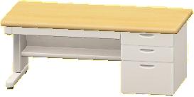 オフィスのデスクのベージュ×ホワイトの画像