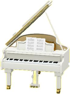 グランドピアノのホワイトの画像