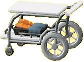 サービングカートのホワイト×シルバーの画像