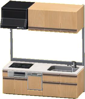 システムキッチンのナチュラルの画像