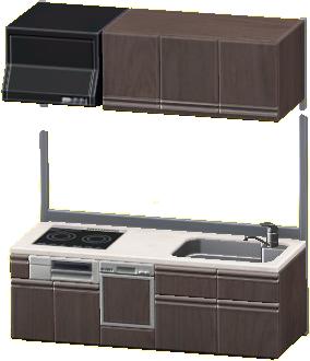 システムキッチンのブラウンの画像