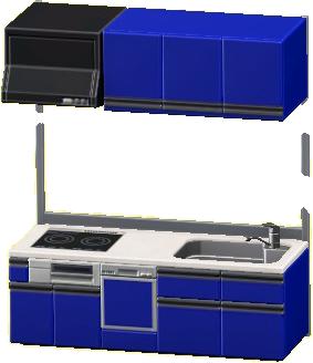 システムキッチンのブルーの画像
