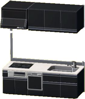 システムキッチンのブラックの画像