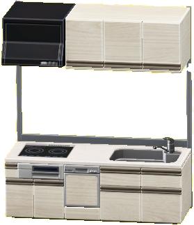 システムキッチンのホワイトの画像