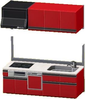 システムキッチンのレッドの画像