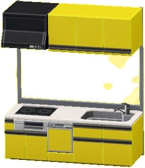 システムキッチンのイエローの画像