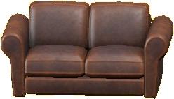 ダブルソファのダークブラウンの画像