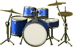 ドラムセットのマリンブルーの画像