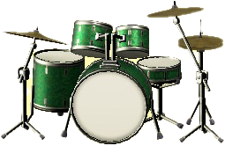 ドラムセットのエバーグリーンの画像