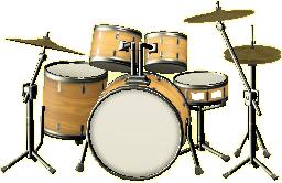 ドラムセットのナチュラルウッドの画像