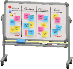 ホワイトボードのアイデア会議の画像