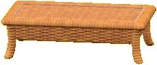 ラタンのローテーブルのレッドブラウンの画像