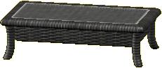 ラタンのローテーブルのブラックの画像