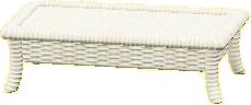 ラタンのローテーブルのホワイトの画像