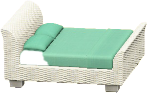 ラタンのベッドのホワイトの画像