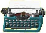 タイプライターのブルーの画像