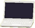 ノートパソコンのホワイトの画像