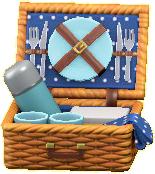ピクニックバスケットのブルーの画像