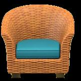 ラタンのソファのレッドブラウンの画像