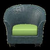 ラタンのソファのグレーの画像