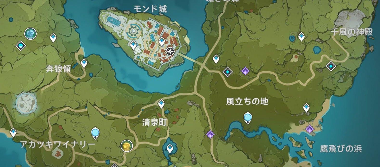 ファデュイの隠れ家までの地図