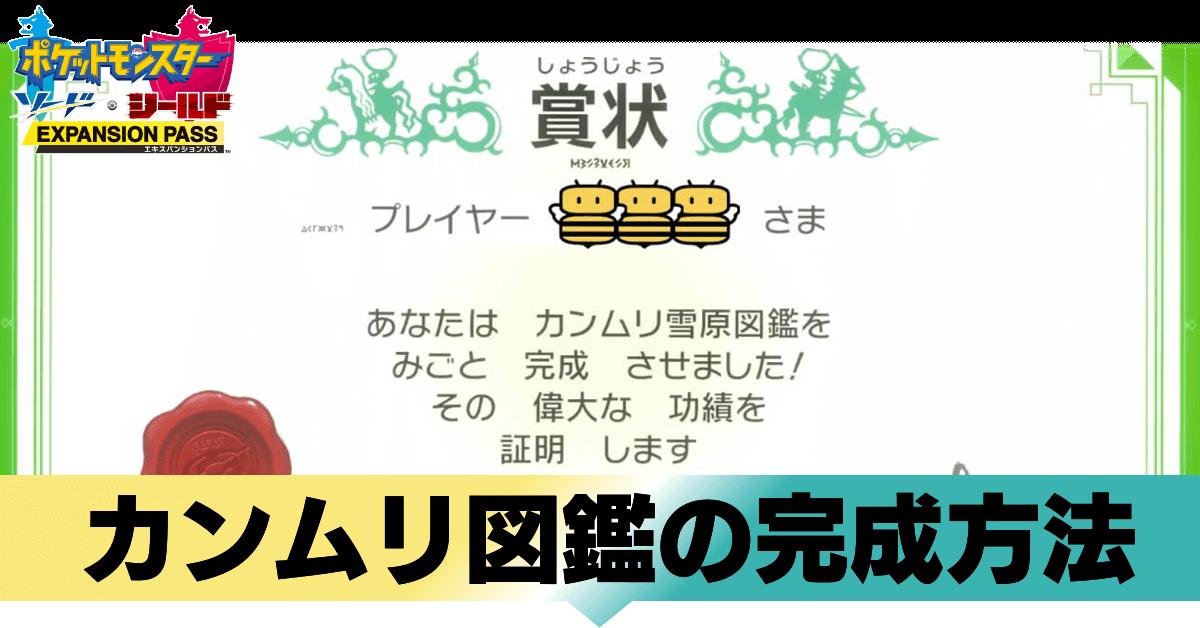 賞状 ポケモン剣盾 図鑑完成