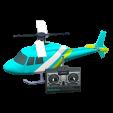 ラジコンヘリコプターのライトブルーの画像