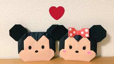 折り紙で折ったミッキーとミニーの画像