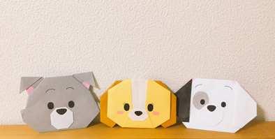 折り紙で折ったトランプとレディとパッチの画像