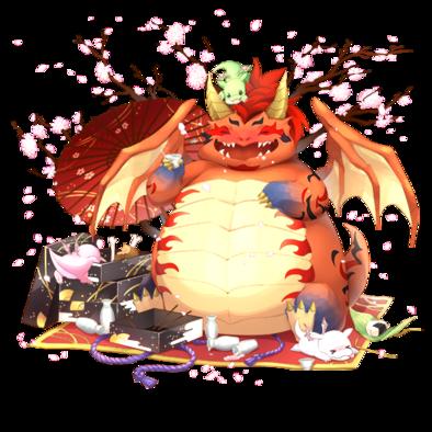 [花より団子]お花見ドラゴンの画像